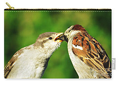 Feeding Baby Sparrow 3 Carry-all Pouch by Judy Via-Wolff
