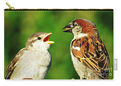 Feeding Baby Sparrows 2 Carry-all Pouch by Judy Via-Wolff