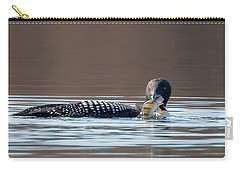 Feeding Common Loon Square Carry-all Pouch by Bill Wakeley