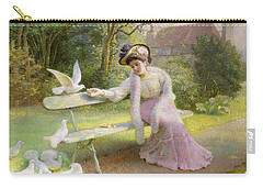 Feeding The Doves  Carry-all Pouch by Edmond Alphonse Defonte
