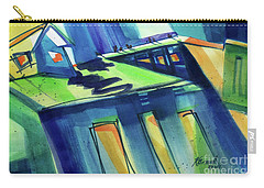 Carry-all Pouch featuring the painting Feedmill In Blue And Green by Kathy Braud