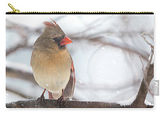 Female Cardinal In Snow Carry-all Pouch