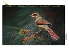 Female Cardinal On Evergreen Carry-all Pouch