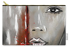 Female Half Face On Grey Abstract Carry-all Pouch