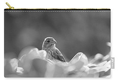 Female House Finch Perched In Black And White Carry-all Pouch
