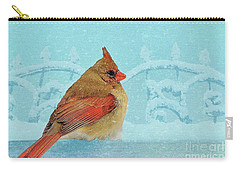 Carry-all Pouch featuring the photograph Female Northern Cardinal In Winter by Janette Boyd