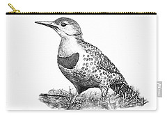Female Northern Flicker B And W Carry-all Pouch