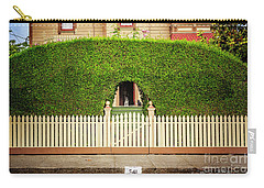 Carry-all Pouch featuring the photograph Fence, Hedge, Dog And Cat by Craig J Satterlee