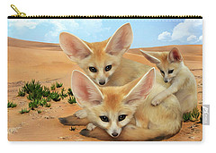Carry-all Pouch featuring the digital art Fennec Foxes by Thanh Thuy Nguyen