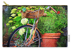 Carry-all Pouch featuring the photograph Fern Dale Flower Bicycle by Craig J Satterlee