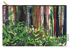 Carry-all Pouch featuring the painting Ferns And Redwoods by Donald Maier