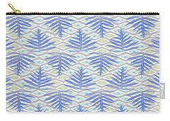 Ferns On Diamonds Indigo Gray Carry-all Pouch