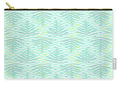 Ferns On Diamonds Pale Teal Carry-all Pouch