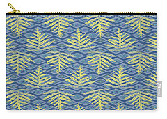 Ferns On Diamonds Yellow Indigo Carry-all Pouch