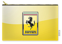 Ferrari 3d Badge- Hood Ornament On Yellow Carry-all Pouch