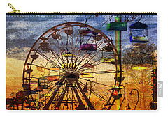 Carry-all Pouch featuring the digital art Ferris At Dusk by David Lee Thompson