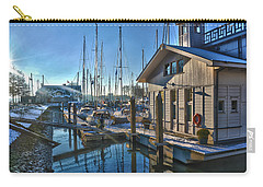 Carry-all Pouch featuring the photograph Ferry Harbour In Winter by Frans Blok