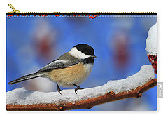 Carry-all Pouch featuring the photograph Festive Chickadee by Tony Beck