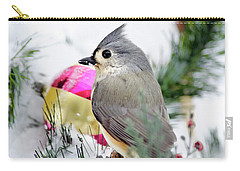 Festive Titmouse Bird Carry-all Pouch by Christina Rollo