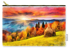 Field Of Autumn Haze Painting Carry-all Pouch