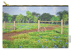 Carry-all Pouch featuring the digital art Field Of Bluebonnets by Jayne Wilson