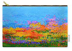 Abstract Field Of Wildflowers, Modern Art Palette Knife Carry-all Pouch