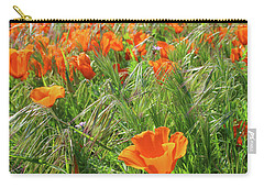 Carry-all Pouch featuring the mixed media Field Of Orange Poppies- Art By Linda Woods by Linda Woods