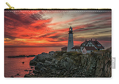 Fiery Sunrise At Portland Head Light Carry-all Pouch