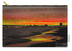 Carry-all Pouch featuring the digital art Fiery Sunset by Mariola Bitner