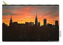 Fiery Sunset New York With Chrysler And Empire State Buildings Carry-all Pouch by Miriam Danar