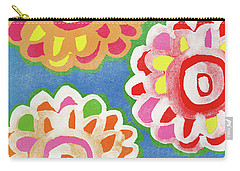 Floral Design Mixed Media Carry-All Pouches
