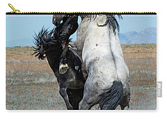 Fighting Black And Gray Stallions Carry-all Pouch by Mary Hone