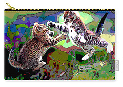 Carry-all Pouch featuring the mixed media Fighting Cats by Charles Shoup