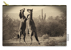 Carry-all Pouch featuring the photograph Fighting Stallions by Frank Stallone