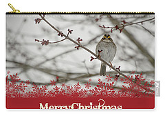 Carry-all Pouch featuring the mixed media Finch Christmas by Trish Tritz