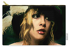 Carry-all Pouch featuring the painting Fine Art Digital Portrait Stevie Nicks Wearing Beret by G Linsenmayer