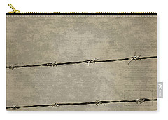 Fine Art Photograph Barbed Wire Over Vintage News Print Breaking Out  Carry-all Pouch