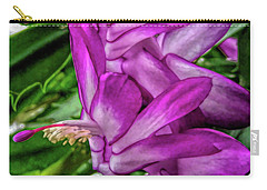 Carry-all Pouch featuring the photograph Fine Wine Cafe Christmas Cactus Flower by Aimee L Maher Photography and Art Visit ALMGallerydotcom