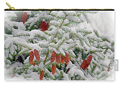 Carry-all Pouch featuring the photograph Fir Cones On White Photo Art by Sharon Talson