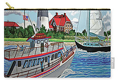 Fire Island Lighthouse And Boats In The Great South Bay Towel Version Carry-all Pouch