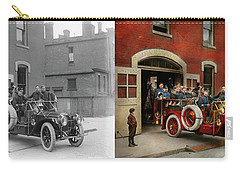 Carry-all Pouch featuring the photograph Fire Truck - The Flying Squadron 1911 - Side By Side by Mike Savad
