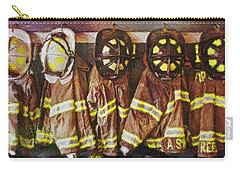 Carry-all Pouch featuring the painting Firefighters Uniforms by Joan Reese