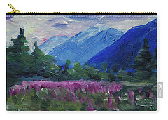 Carry-all Pouch featuring the painting Fireweed At Outer Point Alaska by Yulia Kazansky