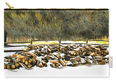 Carry-all Pouch featuring the photograph  Floyd Snyder by Firewood in the Snow at Fort Tejon