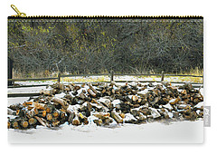Carry-all Pouch featuring the photograph Firewood In The Snow At Fort Tejon by Floyd Snyder