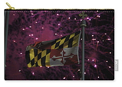 Fireworks And The Maryland Flag Carry-all Pouch by Robert Banach