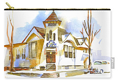 Carry-all Pouch featuring the painting First Baptist Church In Winter by Kip DeVore