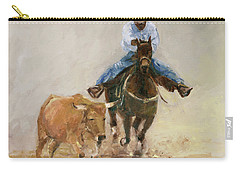 First Bulldogger Bill Picket Oil Painting By Kmcelwaine  Carry-all Pouch