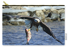 Carry-all Pouch featuring the photograph Fish In Hand by Coby Cooper