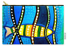 Carry-all Pouch featuring the painting Fishes With Seaweed - Art By Dora Hathazi Mendes by Dora Hathazi Mendes